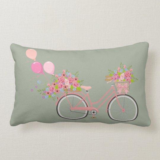Whimsical Pink Bicycle Lumbar Cushion