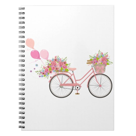 Whimsical Pink Bicycle Notebooks