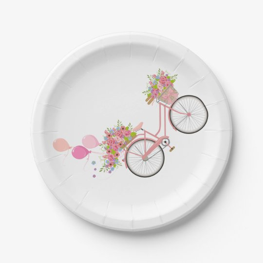 Whimsical Pink Bicycle Paper Plate