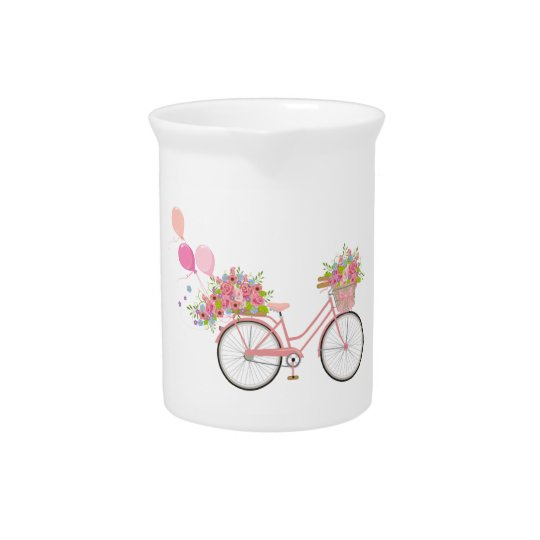 Whimsical Pink Bicycle Pitcher