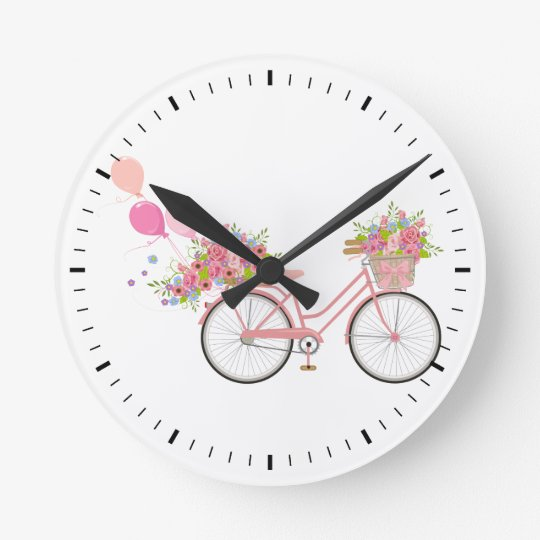 Whimsical Pink Bicycle Round Clock