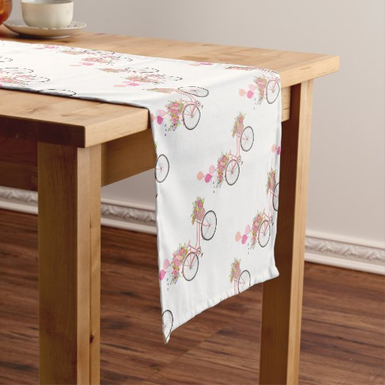 Whimsical Pink Bicycle Short Table Runner