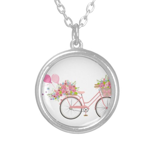Whimsical Pink Bicycle Silver Plated Necklace