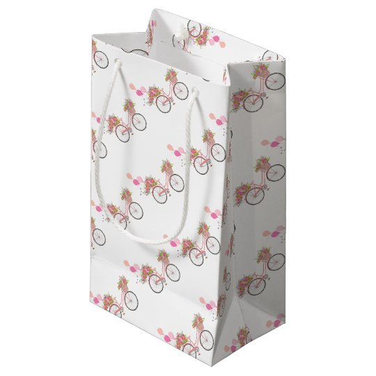 Whimsical Pink Bicycle Small Gift Bag