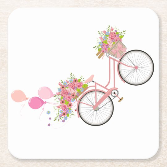 Whimsical Pink Bicycle Square Paper Coaster