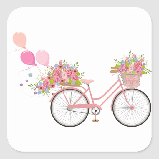 Whimsical Pink Bicycle Square Sticker