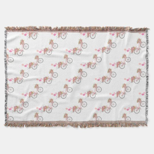 Whimsical Pink Bicycle Throw Blanket