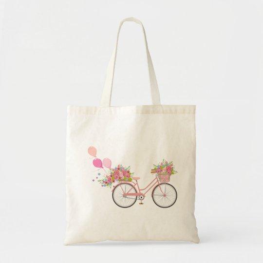 Whimsical Pink Bicycle Tote Bag