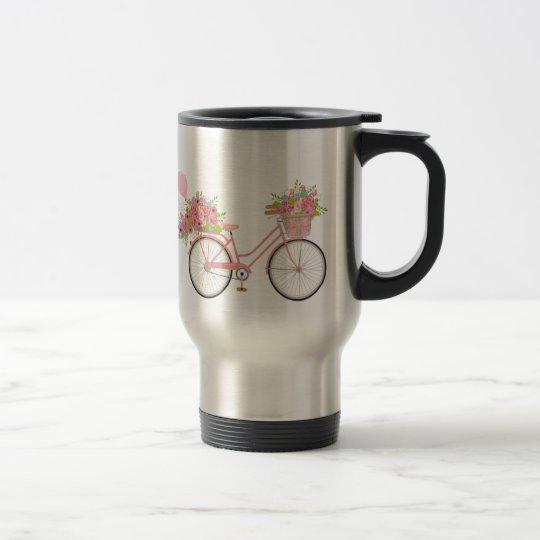 Whimsical Pink Bicycle Travel Mug