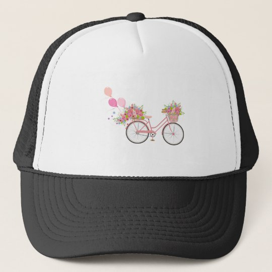 Whimsical Pink Bicycle Trucker Hat