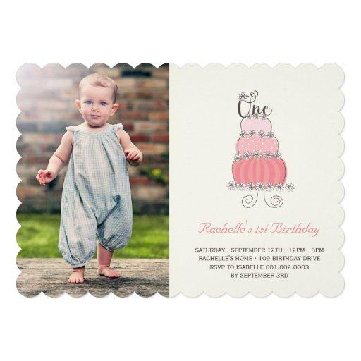 Whimsical Pink Cake Baby Girl First Birthday Photo Custom Invitations