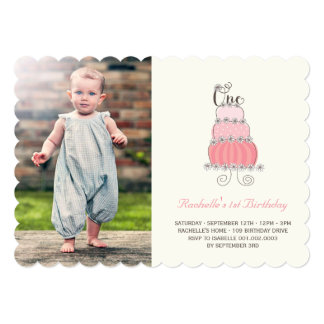 Whimsical Pink Cake Baby Girl First Birthday Photo Custom Invitations