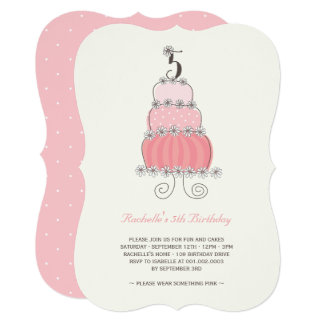 Whimsical Pink Cake Girl 5th Birthday Party Invite