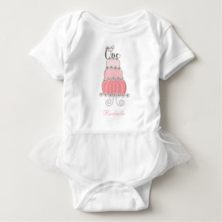 Whimsical Pink Cake One Girl's 1st Birthday Party Baby Bodysuit