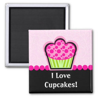 Whimsical Pink Cupcake Magnet
