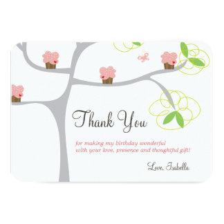 Whimsical Pink Cupcakes Tree Birthday Thank You 9 Cm X 13 Cm Invitation Card