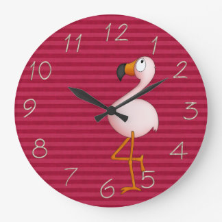 Whimsical Pink Flamingo Clock