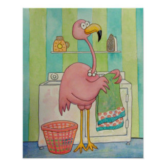 Whimsical Pink Flamingo Does Laundry Cute Poster