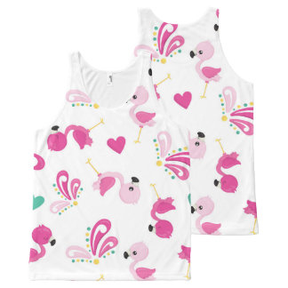 Whimsical Pink Flamingo Pattern All-Over Print Singlet