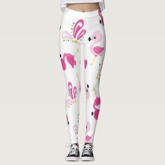 Whimsical Pink Flamingo Pattern Leggings