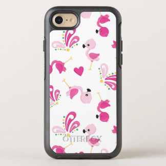 Whimsical Pink Flamingo Pattern OtterBox Symmetry iPhone 8/7 Case
