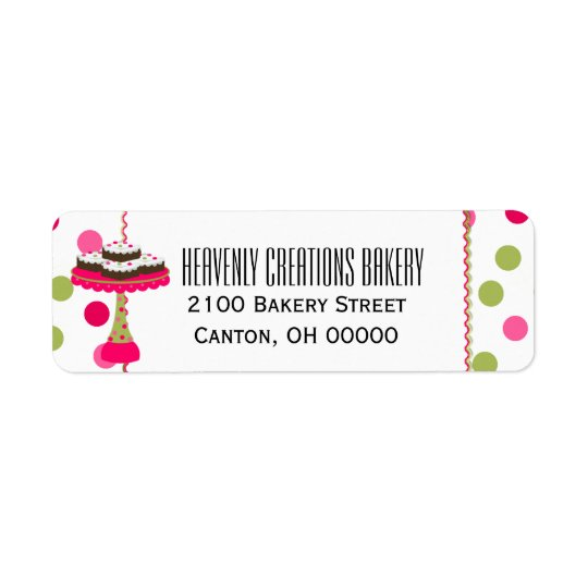 Whimsical Pink & Green Bakery Return Label Return Address Label