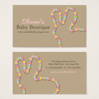 Whimsical Pink Jigsaw Baby Bunny Business Card