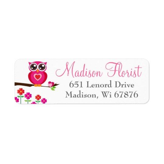 Whimsical Pink Owl & Flowers Return Address Labels