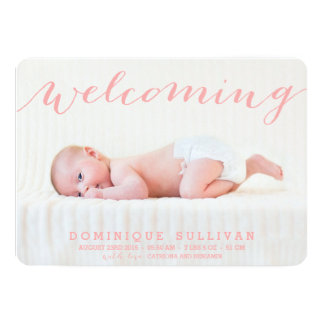 Whimsical Pink Script Photo Birth Announcement