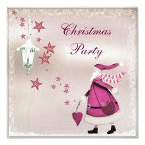 Whimsical Pink Vintage Retro Santa Party Invites