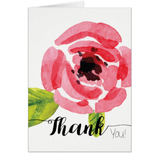 Whimsical Pink Watercolor Flower   Thank You Card