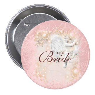 Whimsical pink wedding fairy tale pinback button