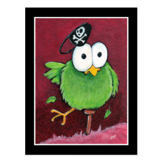 Whimsical Pirate Bird with Wooden Leg Postcard