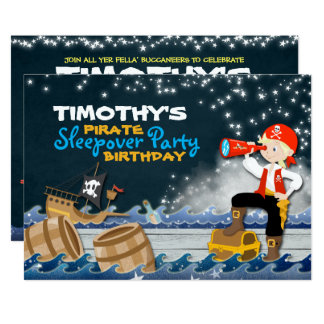 Whimsical Pirate Sleep Over Birthday Party Invite