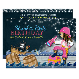 Whimsical Pirate Slumber Party Birthday Invitation