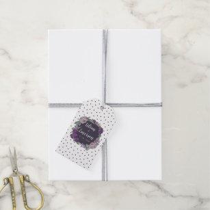 Whimsical Polka Dot Lilac & Lavender Floral Tags