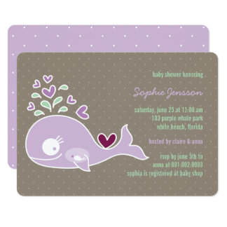 Whimsical Pregnant Purple Whale Baby Shower Invite