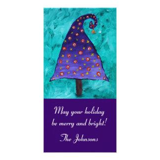 Whimsical Purple Christmas Tree Photo Card Template