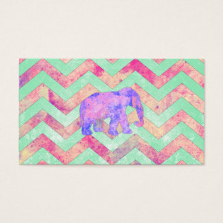 Whimsical Purple Elephant Mint Green Pink Chevron