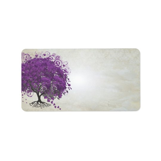 Whimsical Purple Heart Leafed Tree Address Label