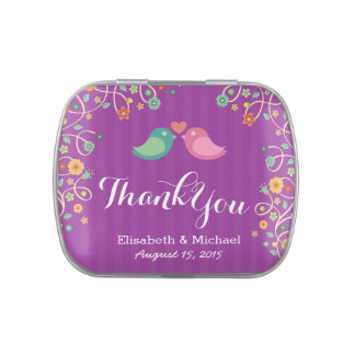 Whimsical Purple Swirl Floral Love Birds Thank You Candy Tin