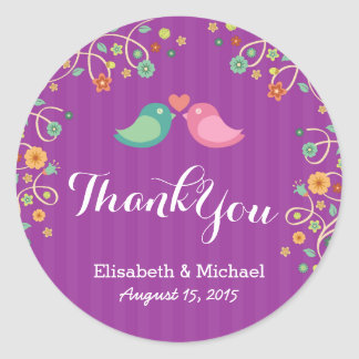 Whimsical Purple Swirl Floral Love Birds Thank You Round Sticker