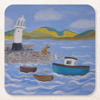whimsical Querky Harbor Square Paper Coaster
