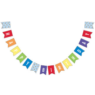 Whimsical Rainbow Multi Colored Birthday Banner