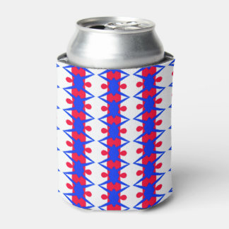 Whimsical Red and Blue Pattern on Can Cooler
