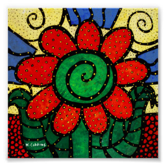 Whimsical Red Flower Poster