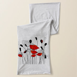Whimsical Red Flowers Scarf