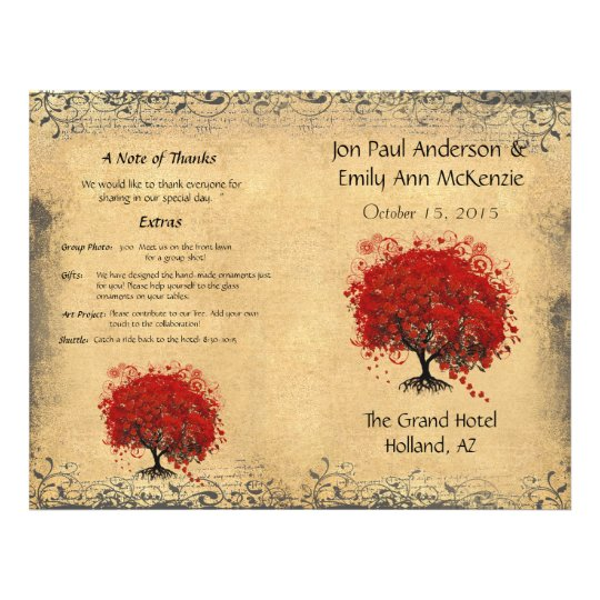 Whimsical Red Heart Leaf Tree Wedding Program Flyer