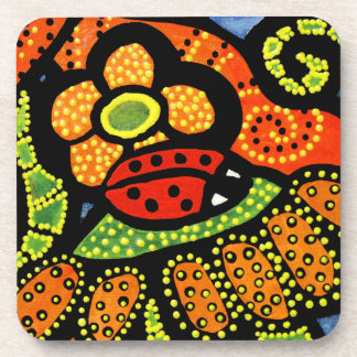 Whimsical Red Ladybug Coaster