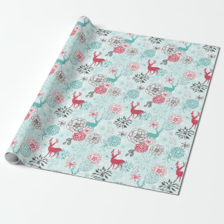 Whimsical Reindeer and Floral Pattern Holiday I Wrapping Paper